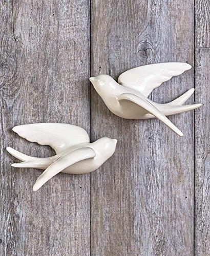 Ceramic White Set of 2 Large Hanging Swallow