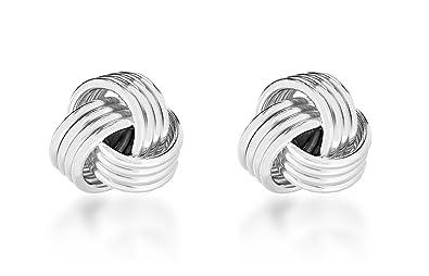 e4b9f861d Tuscany Silver Sterling Silver 8mm Knot Stud Earrings: Amazon.co.uk:  Jewellery