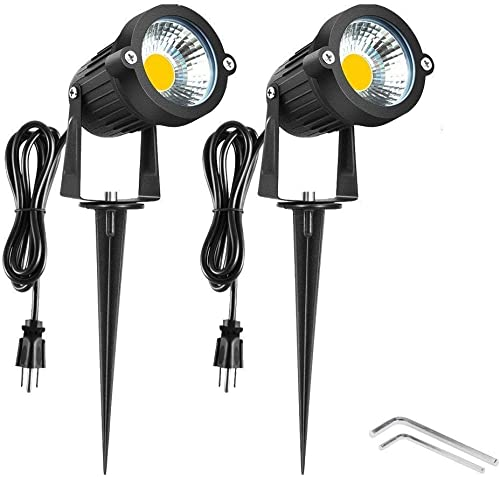 Onerbuy Bright Outdoor LED Landscape Lighting 5W COB Garden Wall Yard Path Lawn Light Lamp with Spiked Stand and Power Plug, Pack of 2 Warm White