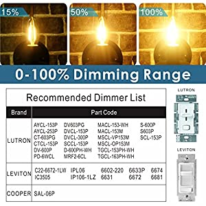 Hizashi 12 Pack Fully Dimmable E12 Candelabra Filament Bulb, 90+ High CRI, 40W Equivalent E12 450 Lumen Dimmable B10 No Strobe LED Filament Candelabra Bulbs, 2700k Warm White, UL Listed