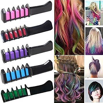 amazon com temporary bright hair chalk set 6 colors hair chalk