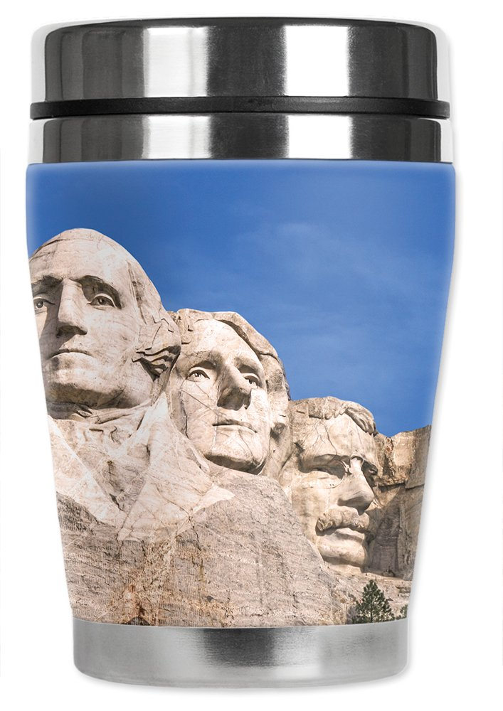 Mugzie brand 10-Ounce 'Mini' Travel Mug with Insulated Wetsuit Cover - Mount Rushmore Blue Sky