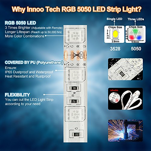 LED Strips Lights, 5m(16.4ft) 300 LEDs IP65 Waterproof Dustproof Led Lights, SMD 5050 Mood Lights with Remote Control for Indoor and Outdoor Decoration