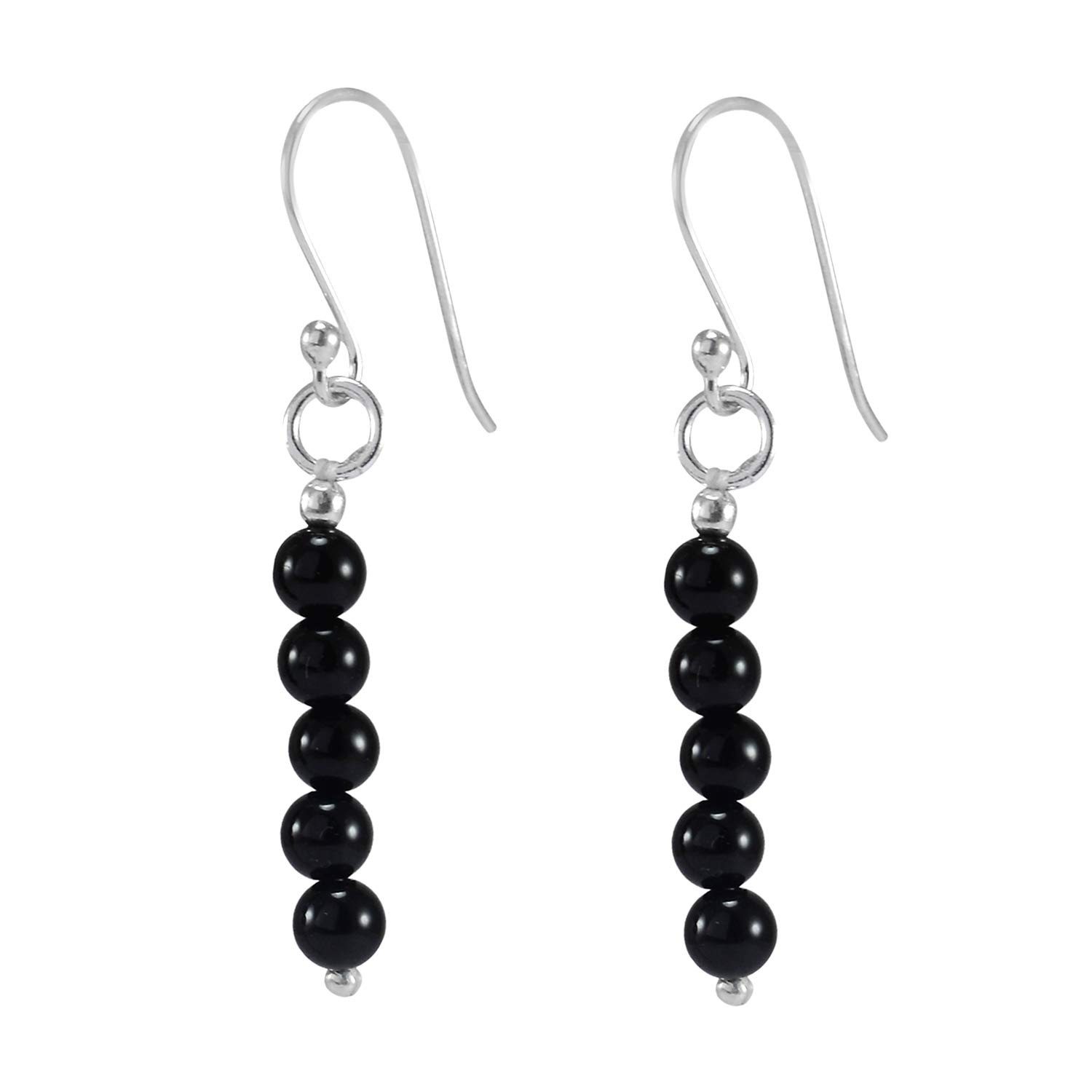 Handmade Jewelry Manufacturer Black Onyx// 925 Sterling Silver// 5 Bead Stone Round Beaded//Dangle Long Earring Jaipur Rajasthan India