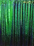 ShinyBeauty 8FTx8FT-Mermaid-Green&Black-Sequin Curtain Backdrop,Reversible Sequin Fabirc Photography Backdrops For Photo/Wedding/Party/Event/Prom/Birthday