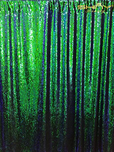 ShinyBeauty Mermaid-Sequin Curtain-Backdrop-Green&Black-8FTx10FT,Reversible Sequin Fabric Backdrops For Photography,Apply to Party/Wedding/Event/Prom/Birthday by ShinyBeauty