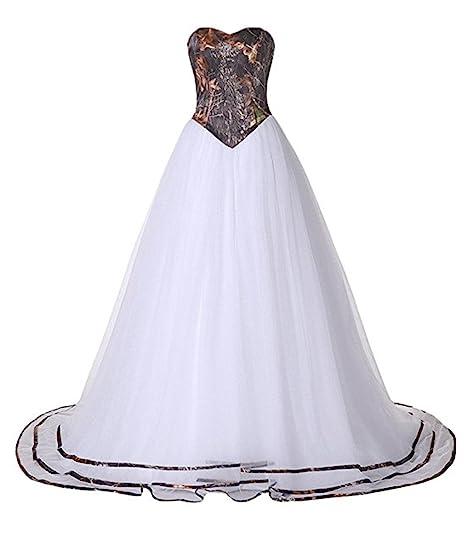 Macria Women S Strapless Camo Wedding Dress Prom Gown At Amazon