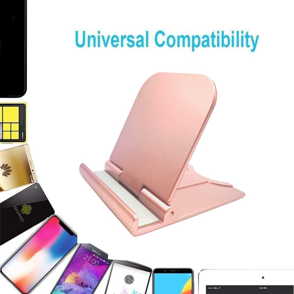 Cell Phone Stand 3 Pack Cellphone Holder Portable Foldable Desktop Cell Phone Holder Stand Adjustable Universal Multi-Angle Cradle Black + Silver + Rose Gold