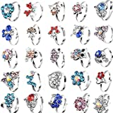 Yantu Children Kids Boys 20pcs Cute Crystal Adjustable Rings Jewelry