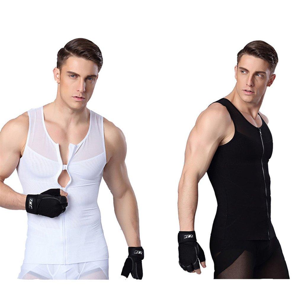 iYunyi Men's Slimming Body Shaper Tank Top Front Zipper Corset Vest (L, 1Black1White(2packs))