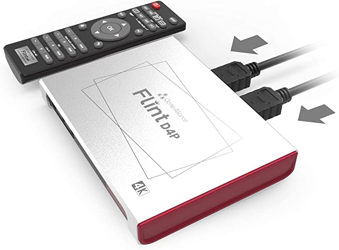 ClonerAlliance Flint D4P, Standalone Dual-4K Video Overlay Device and Audio Mixing. 1080p@60fps Video Game Capture. Remote Control, UVC and Type-C.