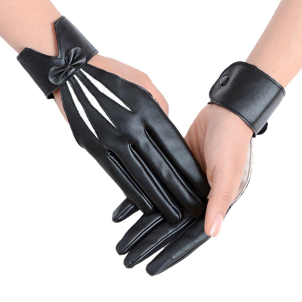 JISEN Women Five finger PU Leather With Wrist Band Pole Dancing Punk Gloves Black CMG00516