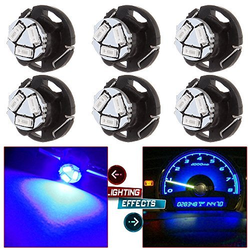 6Pack Blue T5/T4.7 Neo Wedge 3LED Bulb Dash Climate Control Instrument Base Light Side Light Indicator Light