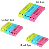 Generic Plastic Bag Sealing Clips, 18-Pieces, Multicolor