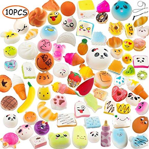 Random 10pcs Slow Rising Kawaii Medium Mini Soft Bread Toys Panda Buns Cake Cute Face Charm Stress Relief Squeeze Food Phone Straps