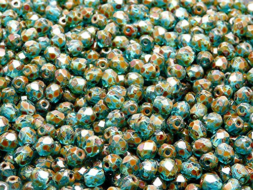 olished Faceted Glass Beads Round 4mm, Aquamarine Travertine (4mm Aquamarine Round Beads)