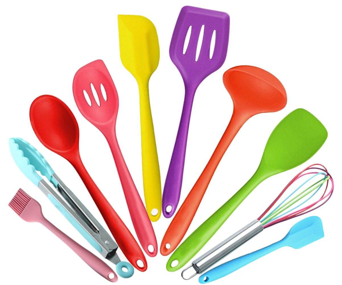 10pcs Silicone Kitchen Utensils - Silicone Cooking Set - Tongs, Whisk, Brush, Spatula, Slotted Spoon, Noodle Spoon, Rice Paddle, Slotted Spatulla, Soup Spoon ,Heat Resistant Cooking Utensil, BPA Free silicone kitcen tool set (Green) Liyoung