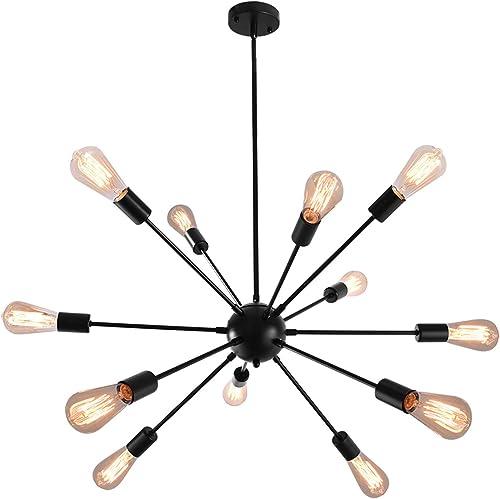 KOSTOMO Sputnik Chandelier Black Ceiling Lighting Metal Retro Industrial Vintage Pendant Lighting Living Room Dining Room Bed Room Kitchen Room Lighting 12 Lights-Black