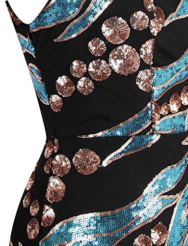 Ange-mode De L'épaule Art Déco Sequin Longue De Bleu De Robe De Soirée Des Femmes