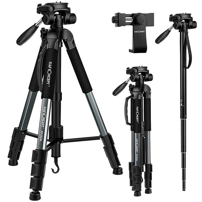 K&F Concept Trípode Complecto TM2624L Trípode Liviano con Monopie 173cm para Cámara Canon Sony Nikon con Bolsa de Transporte para Vieja y Trabajo