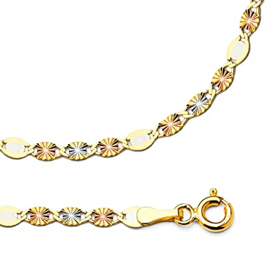 bec57f755b56c GemApex 14k Yellow White Rose Gold Necklace Valentino Chain Diamond Cut  Star Tri Color Solid, 3 mm - 16,18,20,22,24 inch