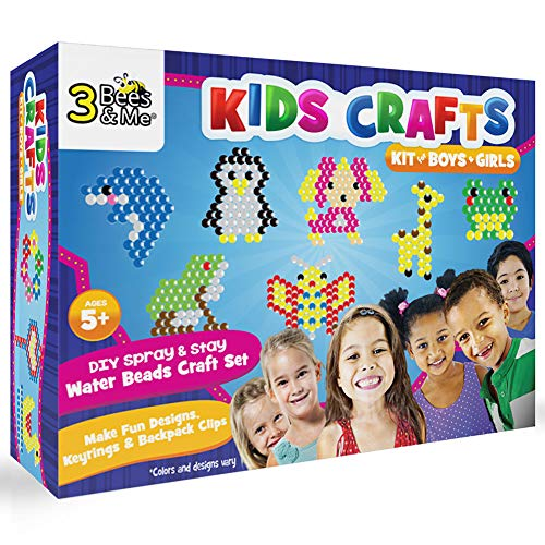 3 Bees & Me Kids Crafts Kit for Boys & Girls Age 5 to 8 - DIY Spray and Stay Water Beads Craft Set for Designs, Keyrings & Backpack Clips - No Iron or Glue Needed - 2 Pegboards & 20 Designs, Various (Clip Money Keepsake)