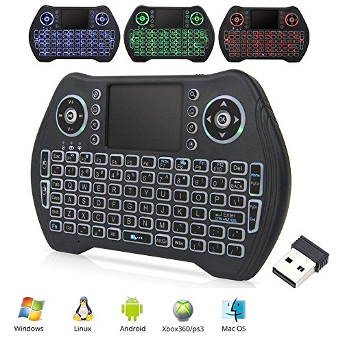 Wireless Keyboard with Touchpad Mouse, Mini Remote Keyboard with LED Backlit Rechargable and Portable 2.4 GHz for Android TV BOX, HTPC, XBOX (New Ver)