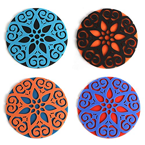 Coasters for Drinks Set of 4 - DATYSON Oversize 5 Inch 3D Round Coaster Without Holder For All Cups, Mugs, Glasses, Deep Tray and Rim Catch Cold Drink Sweat, As - Set 4 Coasters