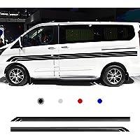 for RV Universal Car Body Side Sticker Sports Racing Stripe Graphic Decals DIY Vinyl Roof Hood Stickers 400x12cm Black