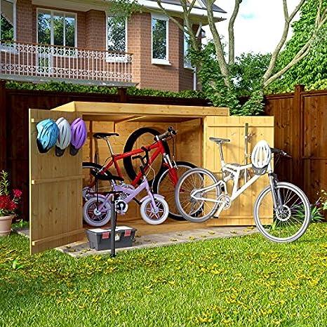 Cobertizo de almacenamiento de bicicleta de 1, 8 m x 0, 9 m de madera superpuesta, con techo y puerta doble, de fieltro: Amazon.es: Jardín