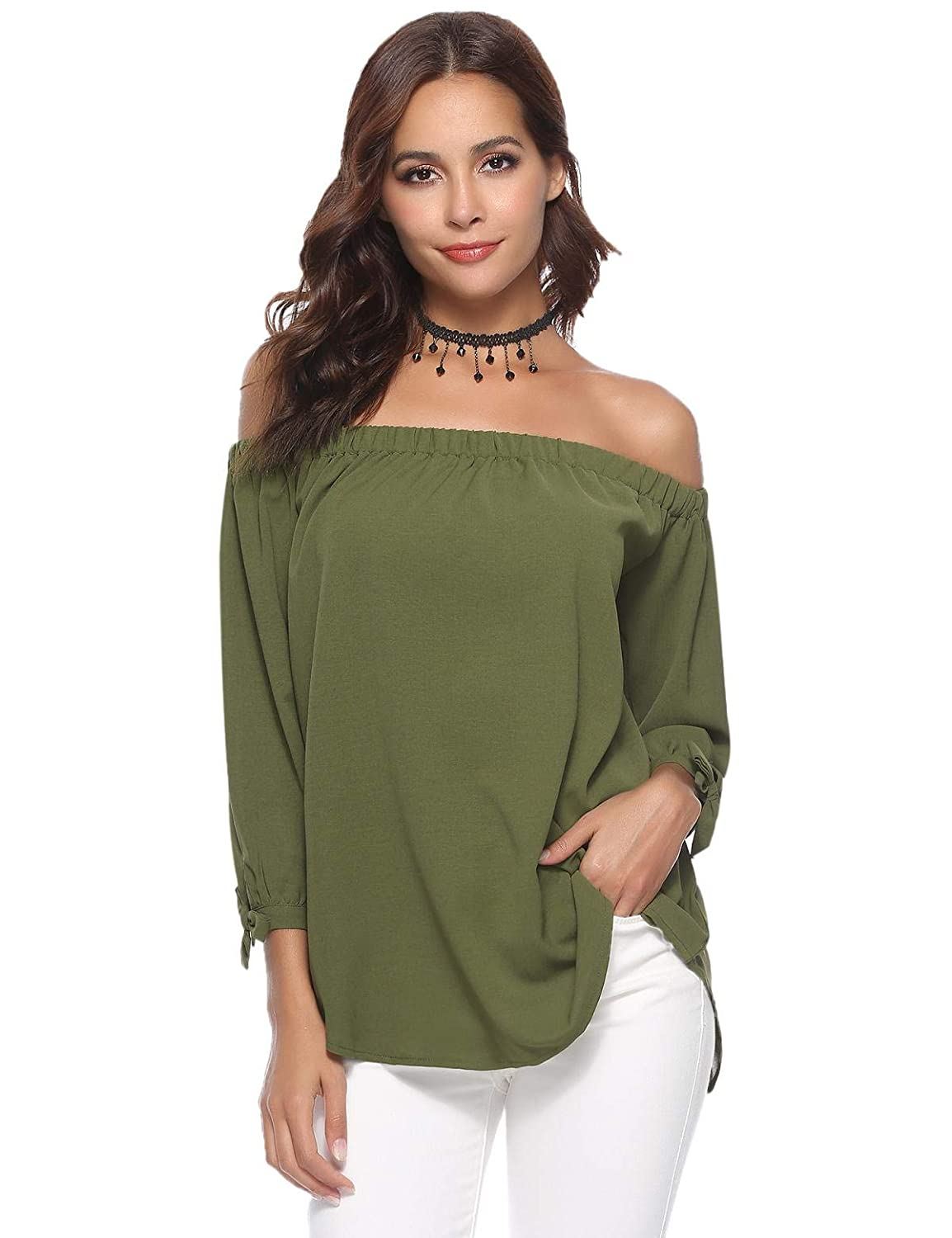 a6e90df9b00 Aibrou Off Shoulder Tops for Women 3/4 Sleeve Elegant Shirts Blouses at  Amazon Women's Clothing store: