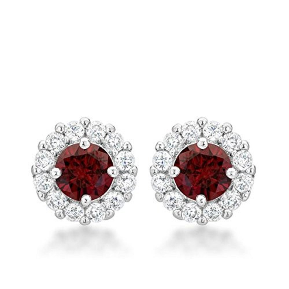 WildKlass Bridal Earrings in Garnet Red
