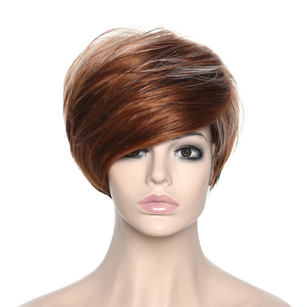 AmorWig Short Layered Brown Wig-Women's Straight Highlight Brown Hair Wigs with Black Root (Style A) WGS-621801