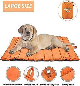 Cheerhunting Outdoor Dog Bed Portable Travel Dog Bed Extra Large Dog Mat Cat Mat Orange Oversize Waterproof Dog Mat Pet Mat
