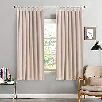CKNY Vorhänge Blickdicht Gardinen für Schlafzimmer mit Schlaufen 2 Stücke  Wohnzimmer, 175 x 130 cm (H x B),2er-Set, Beige