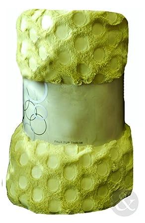 SPOTS FAUX FUR THROW Over Soft Fleece Sofa Bed Double Bedspread Blanket  Throws Lime ( Pistachio