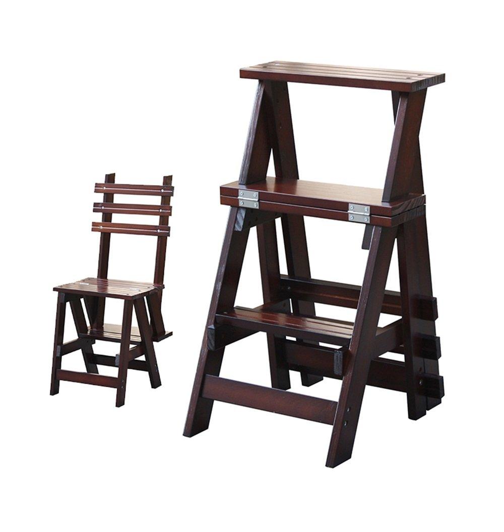 レトロソリッドウッド折りたたみチェア多機能踏み台/階段の椅子ホーム3つのステップ B07DLMLZL9