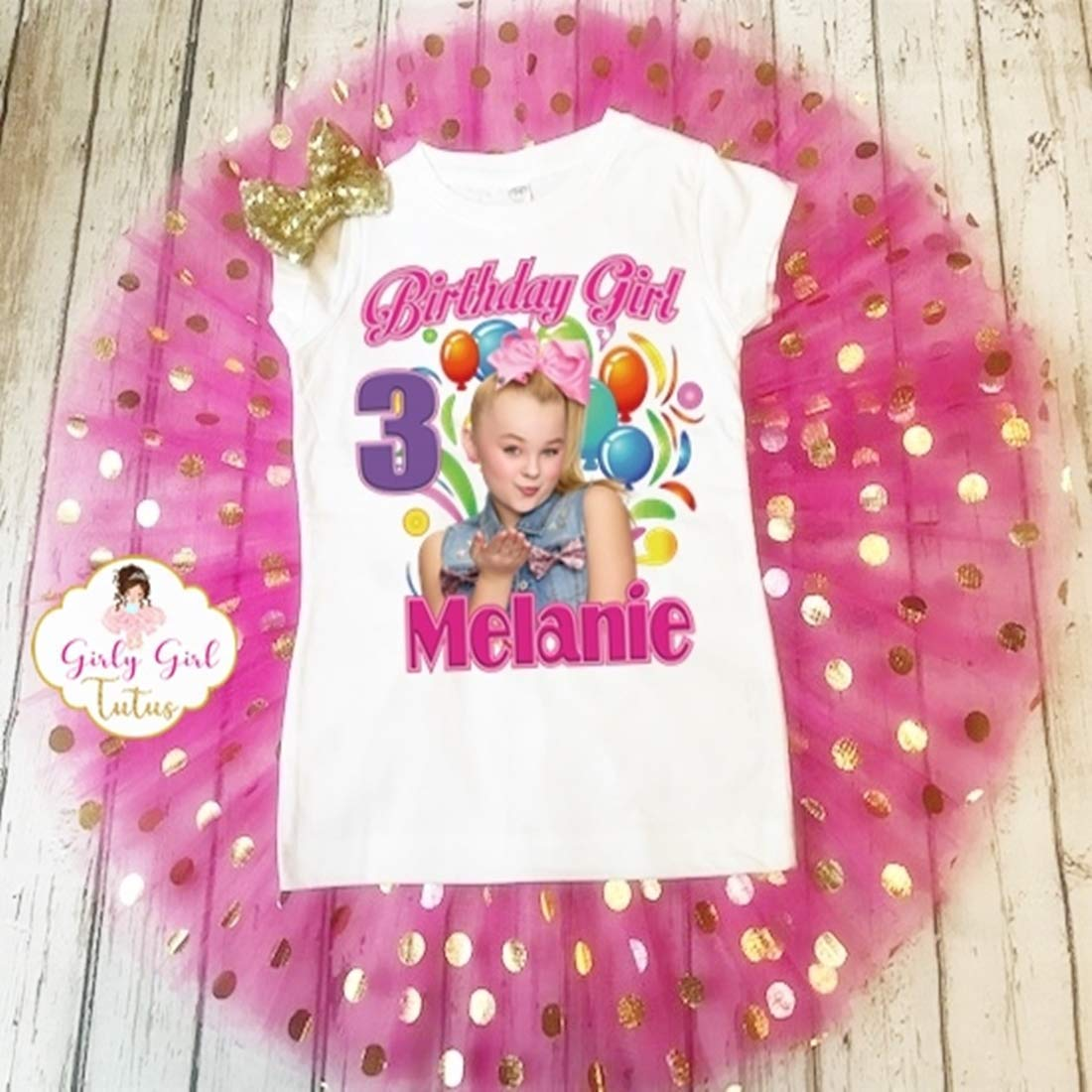 Jojo Birthday Outfit for Girls Jojo Siwa Birthday T shirt with Tutu Set