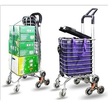 Carro de compras de aluminio GONA – Andador portátil de 8 ruedas con marco plegable,