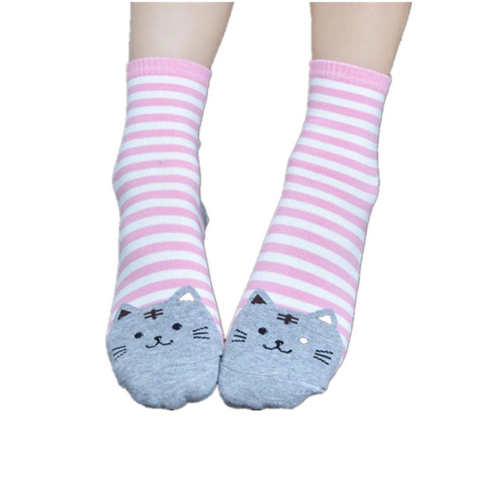 Baomabao Women 3D Animals Striped Cartoon Socks Cat Footprints Cotton Socks (Pink)