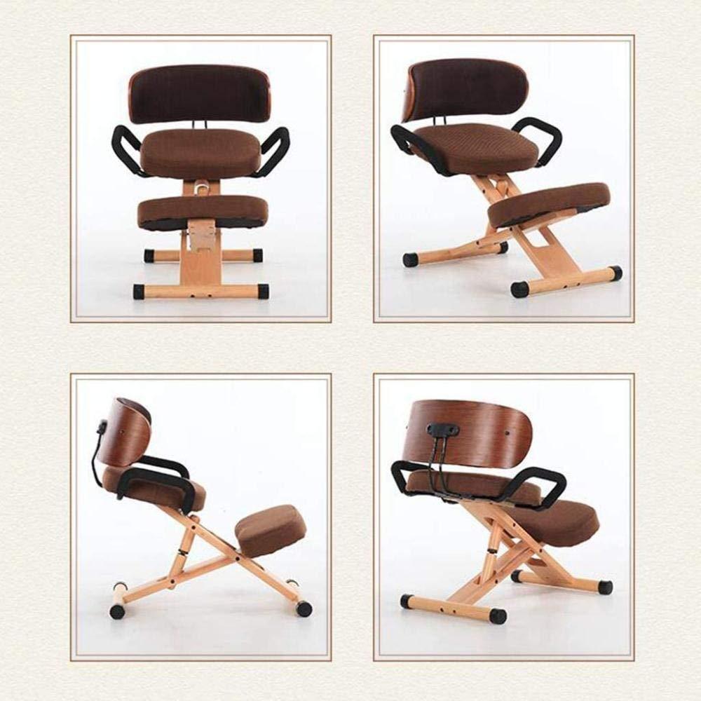 Knästol kan lyftas upp och ner konst räta stol massivt trä lärande dator stol student stol ryggstol knästol (färg: B) c