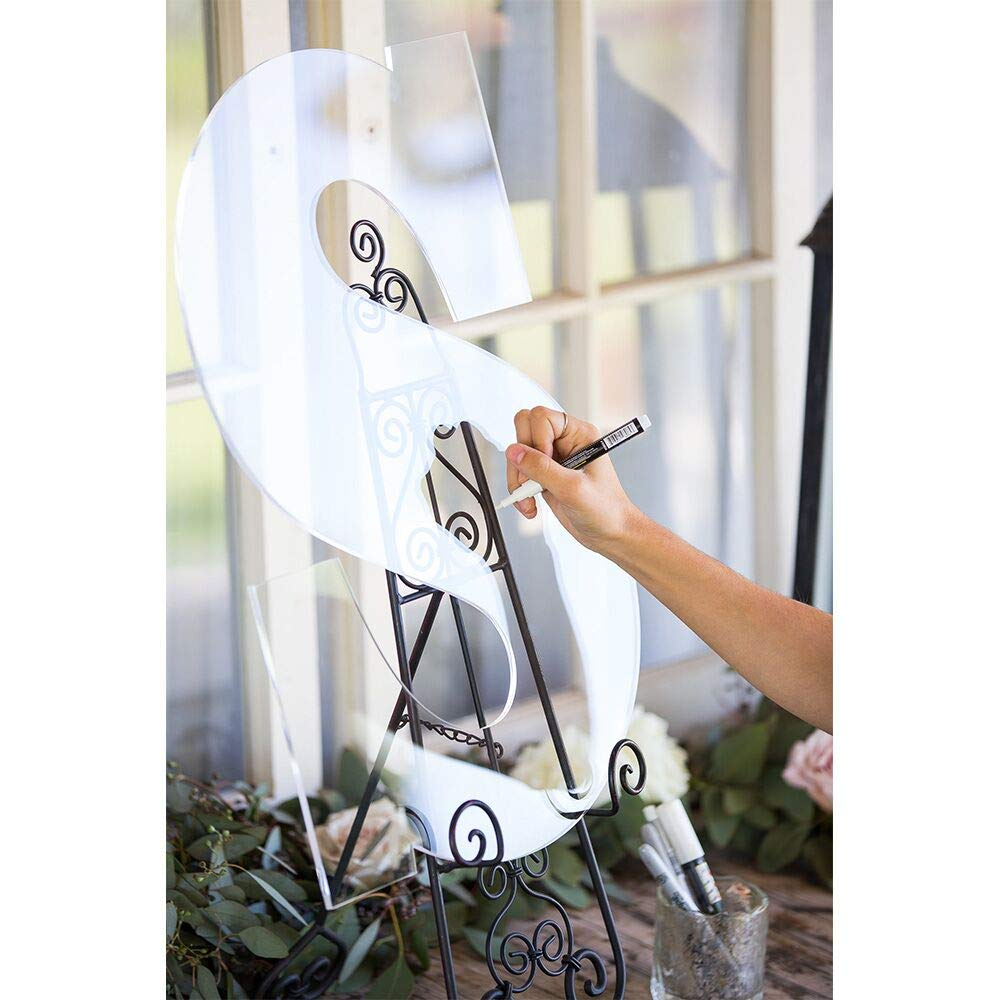 LUGUNU Custom Clear Wedding Guest Book Monogram Letter Sign 26 Letter for Guestbook Alternative Acrylic Wedding Welcome Signs (A Letter (1818inch))