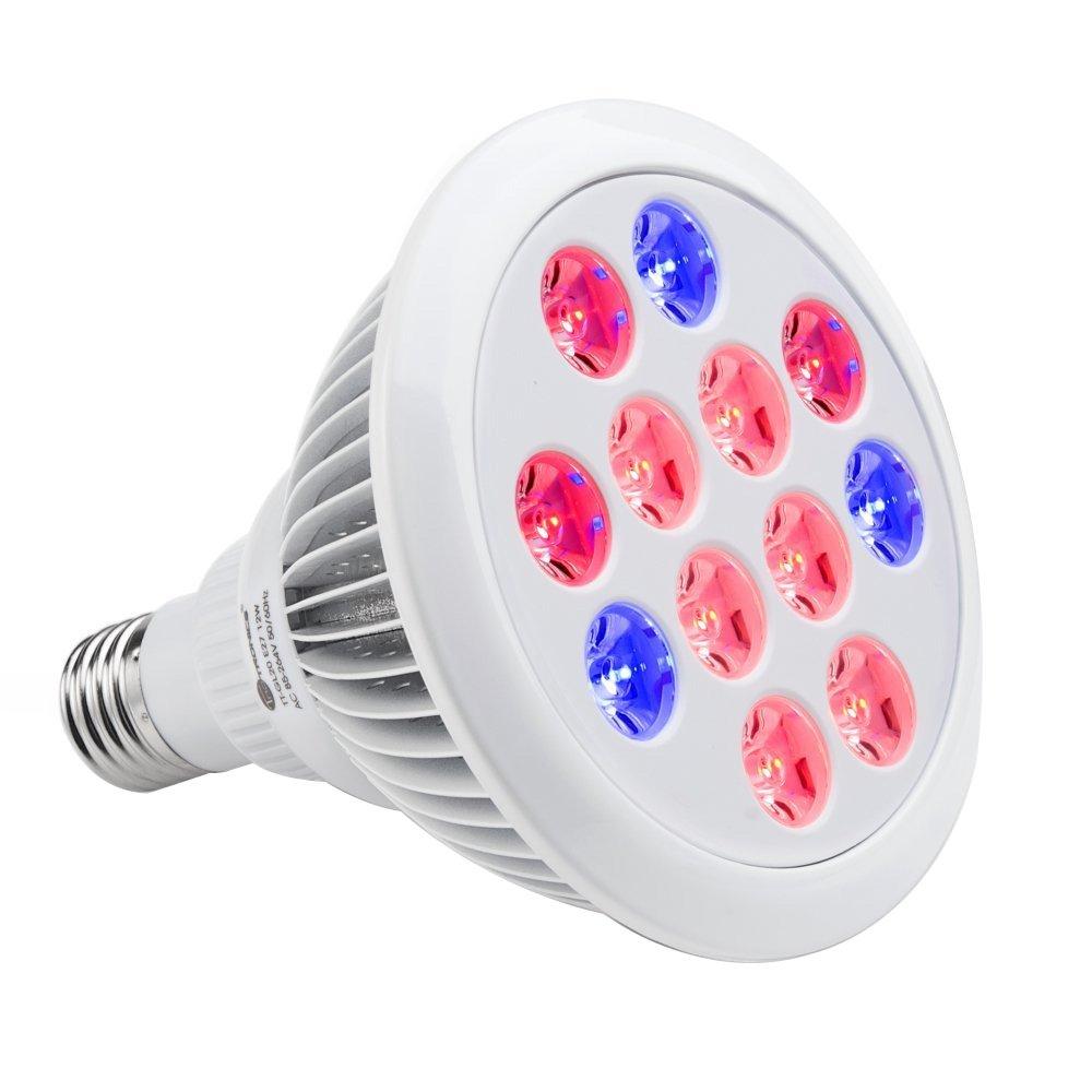 TaoTronics Led Grow lights Bulb, Grow Lights Indoor Plants, Grow Lamp Hydroponics Greenhouse Organic, Plant Lights (E26 12w 3 Bands)
