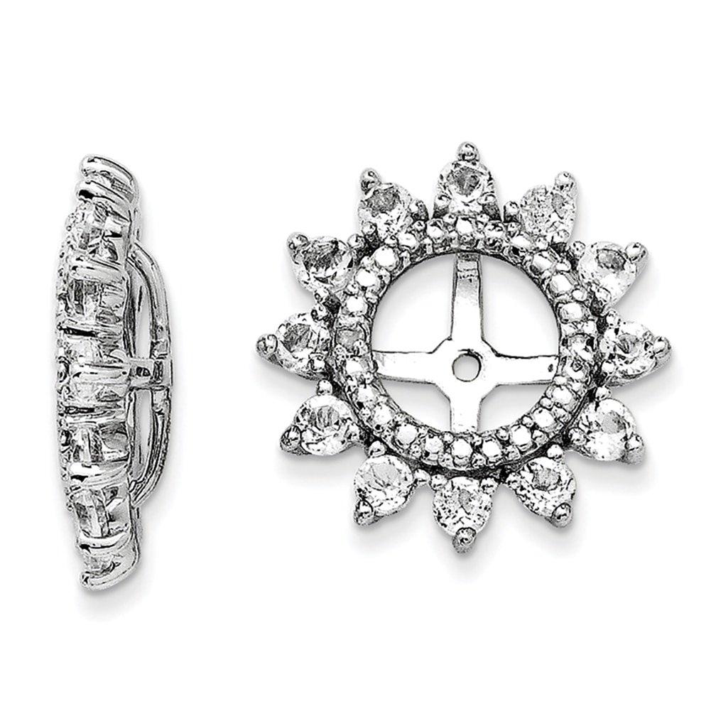 Lex /& Lu Sterling Silver Diamond /& White Topaz Earrings Jacket LAL113185