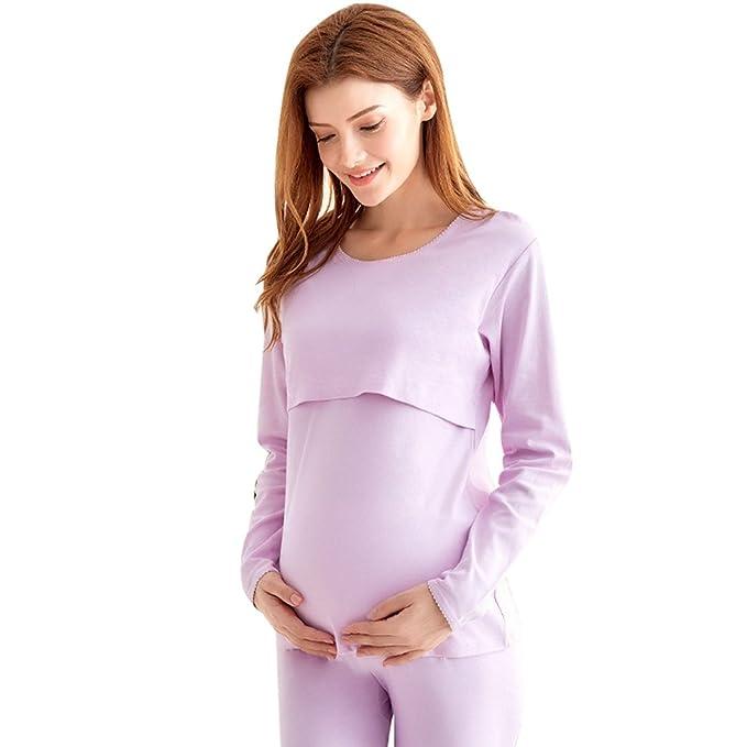 YAANCUN Ropa de Mujer Pijamas Señoras de Algodón Las Mujeres Embarazadas la Maternidad Pijamas la Primavera