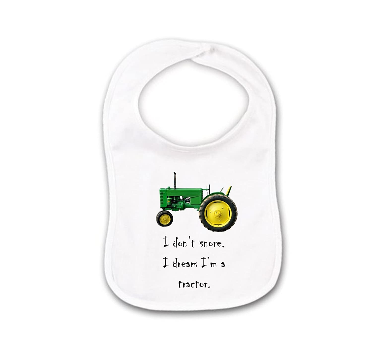 Funny Baby Bib or Burp Cloth With Sayings, I Don't Snore I Dream I'm A Tractor, Green Farm