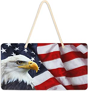 "Wamika Patriotic American Flag Eagle Door Hanging Sign Plaque Independence Memorial Day Veterans Soldiers Wall Signs Yard Indoor Outdoor Garden Decorations Banner with Hang Rope 11"" x 6"""