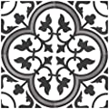"Rustico Tile and Stone RTS13 Roseton B Cement Tile Pack of 13, 8"" x 8, White/Black/Gray"