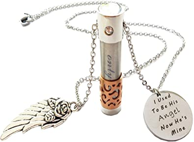 Amazon Com Yama Memorial Dad Jewelry Cremation Ashes Necklace I Used To Be His Angel Now He S Mine Jewelry