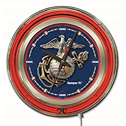 Holland Bar Stool Company NCAA United States Marine Corps Double Neon Ring 15-Inch Diameter Logo Clock